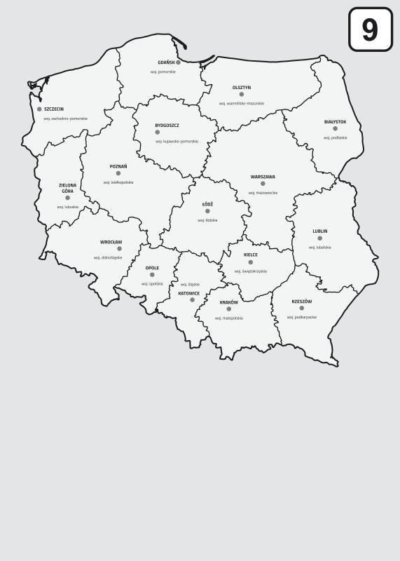 Magnetyczna Tablica Suchoscieralna Mapa Polski Z Podzialem Na