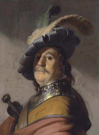 Reprodukcja A man in a gorget and cap, Rembrandt