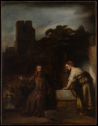 Reprodukcja Christ and the Woman of Samaria, Rembrandt