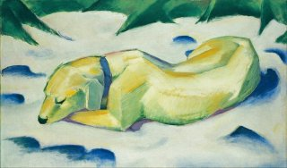 Reprodukcja Dog Lying in the Snow, Franz Marc