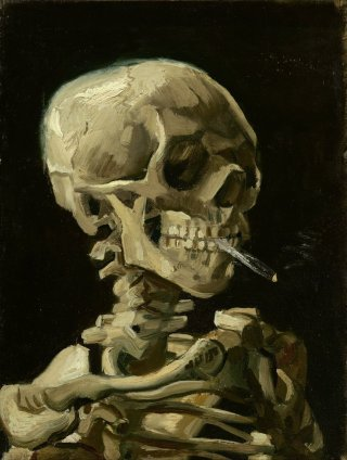 Reprodukcja Head of a skeleton with a burning cigarette, Vincent van Gogh