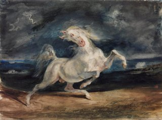 Reprodukcja Horse Frightened by Lightning, Eugene Delacroix