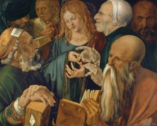 Reprodukcja Jesus among the Doctors as a child debating in the temple, Albrecht Durer