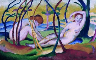 Reprodukcja Nudes under Trees, Franz Marc