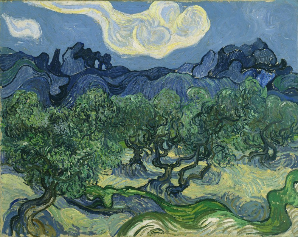 Reprodukcja Olive Trees with the Alpilles in the Background, Vincent van Gogh