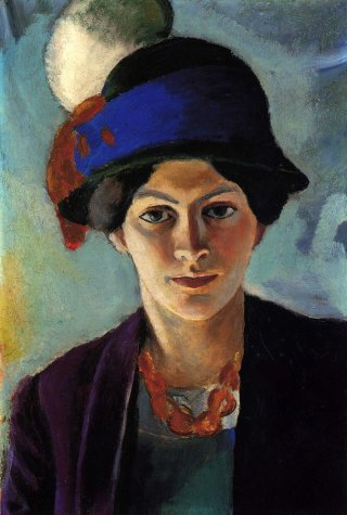Reprodukcja Portrait of the artist's wife with a hat, August Macke