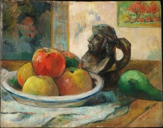 Reprodukcja Still Life with Apples, a Pear, and a Ceramic Portrait Jug, Gauguin Paul