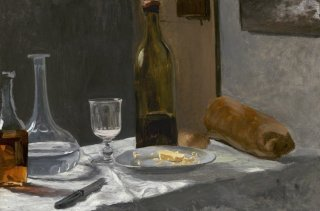 Reprodukcja Still Life with Bottle, Carafe, Bread, and Win, Claude Monet