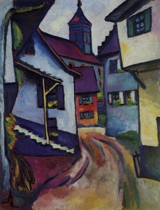 Reprodukcja Street with church in Kandern, August Macke