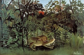 Reprodukcja The Hungry Lion Attacking an Antelope, Henri Rousseau