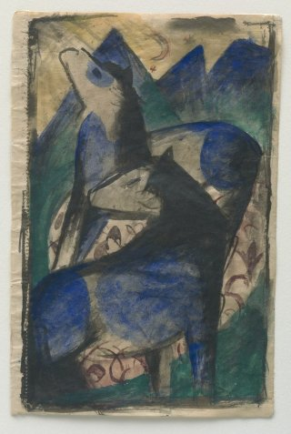 Reprodukcja Two Blue Horses, Franz Marc