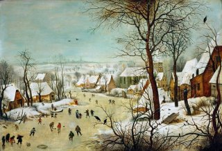 Reprodukcja Winterlandscape with skaters and bird trap, Pieter Bruegel