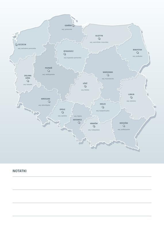 Tablica Suchoscieralna Mapa Polski Z Nazwami Wojewodztw I Miast